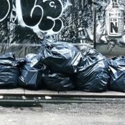 Garbage bags on street